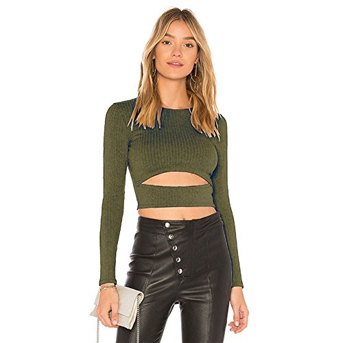 Hot ELINKMALL Womens Spring Ribbed Kint Flare Long Sleeve Casual Crop Top Blouse