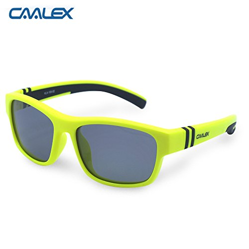 Caalex Kids Sports Style Polarized Sunglasses Rubber Flexible Frame For Boys And Girls