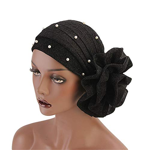 Qianmome Women Muslim Beaded Glitter Turban India Cap Big Flower Headband Hair Lose Head ()