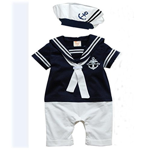 Baby Romper MITIY Hat Cotton Short Sleeved Navy Conjoined Baby Sailor Suit (0-6M, Dark Blue)