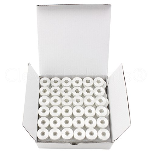 CleverDelights 144 Pack White Prewound Bobbins - Size M Bobbins - Plastic Sided - 1