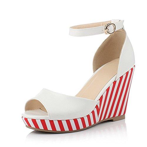 AllhqFashion Women's Soft Material Peep Toe High-Heels Buckle Stripe Sandals Red o7LeU3g