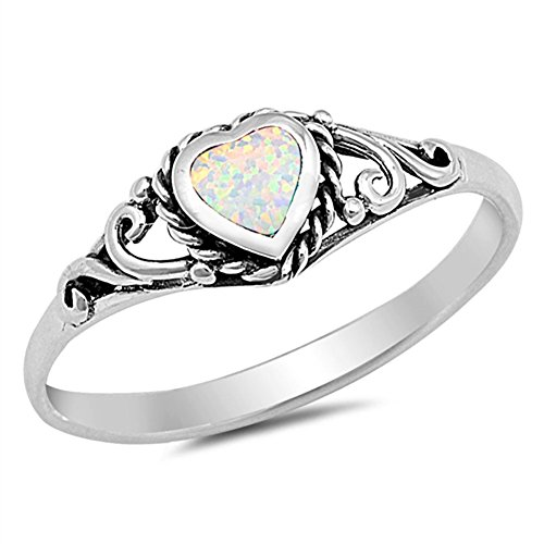 White Simulated Opal Heart Promise Ring .925 Sterling Silver Filigree Band Size 6 ()
