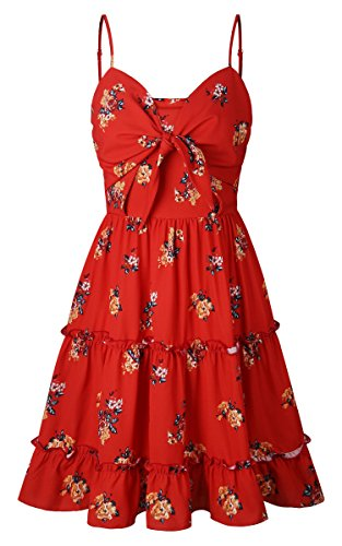 38759816a8bb ECOWISH Womens Dresses Floral Spaghetti Strap Tie Knot Front Flowy Pleated  Mini Swing Dress Red M