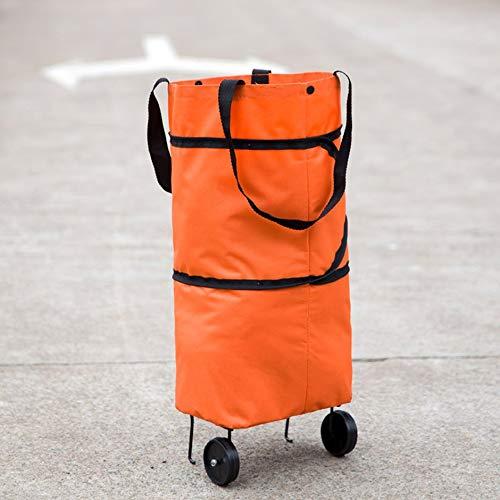 Dise/ño de Moda Gran Capacidad Impermeable Oxford Tela Plegable Carrito de la Compra Rueda Bolsa Traval Carrito Bolsa de Equipaje Naranja
