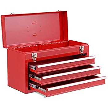 Goplus Tool Chest 20 Inch Portable Tool Box Steel Cabinet W/ 3 Drawers And  Top Tray, Red