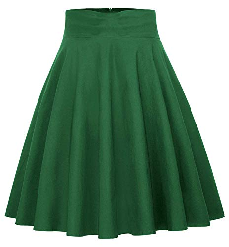 BI.TENCON Vintage Skirts Cotton A-Line Midi Skirts with Pockets for Women Green L