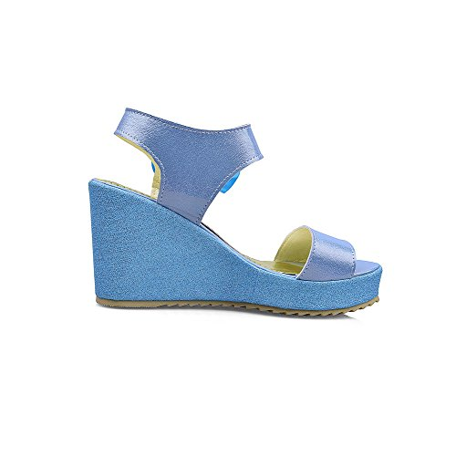 Allhqfashion Donna Pu Solid Hook-and-loop Open Toe Sandali Con Tacco Alto Blu