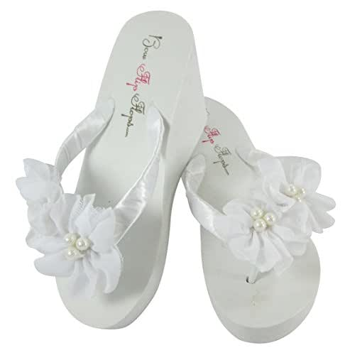 Amazoncom Flower Wedding Flip Flops For Bride And -4300