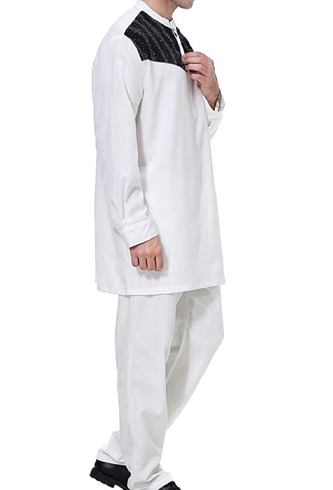 Losait Mens Islamic Muslim 2-Piece Assorted Colors Comfort Western Shirt
