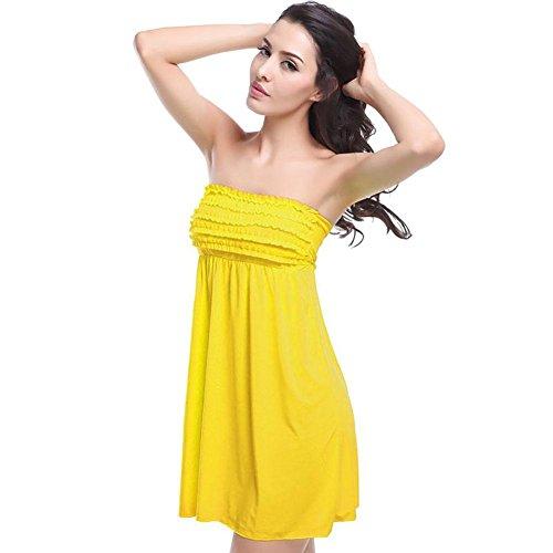 SHISHANG falda de la playa de las mujeres de Europa y los Estados Unidos fue atractiva delgada envuelta en el pecho falda falda vacaciones junto al mar multicolor , blue Yellow