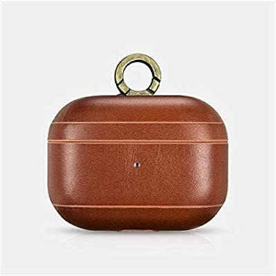 YEDDA Good Texture Airpods Case  Cowhide Leather Airpods Case Cover  with Hook Handmade Airpods Protective Cover for Apple Airpods pro Better Protection  Color Brown