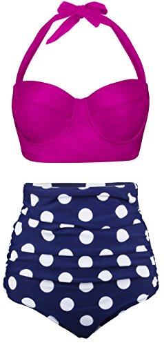 Angerella Damen Retro Stil Polka-Punkt mit hoher Taille Badeanzug Bikini Set(BKI032-R2-4XL)