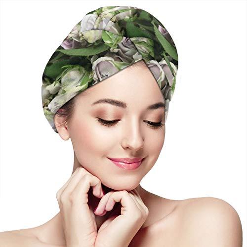 (Yebfs Flower Shadow Wrap Turban Microfiber Bath Cap Hair Turban Head Wrap with Button Quick Dry -Super Absorbent for Long & Curly Hair)