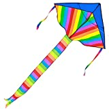 #6: Kids Large Rainbow Delta Kite - the Best Outdoor Toys for Summer Beach Fun, Durable Easy Flyer Comes with Kite Reel Rods and Happy Family Time