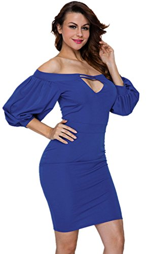 One Shoulder Bubble (Sexy 3/4 Sleeve Bishop Sleeve Bubble Puff Sleeve Off The Shoulder Midi Bodycon One Step Package Hip Dress Blue L)