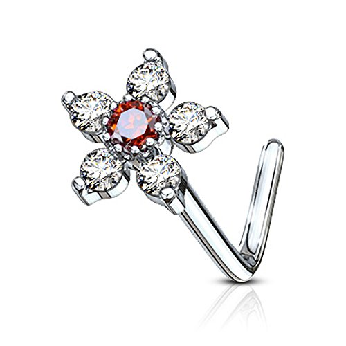 Inspiration Dezigns Nose Stud Ring CZ Flower Top 316L Surgical Steel (Clear / Red, L-Bend Style) (Ring Gem Red Nose)