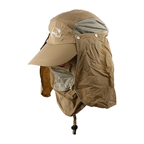 (Khaki Uv 50+ Protection Outdoor Multifunctional Flap Hat Neck Protection Cap with Removable Sun Shield and Mask Perfect for Fishing Hiking Garden Work Activities)