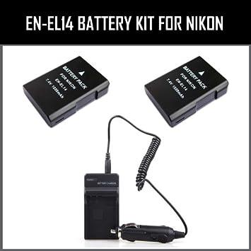 Amazon.com: New EN-EL14 Batería de repuesto Kit para Nikon ...