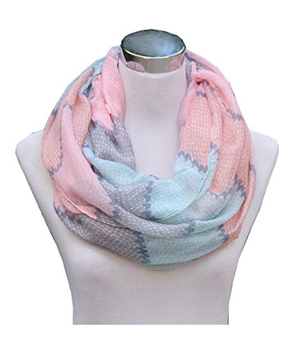 Lucky Leaf Women Lightweight Cozy Infinity Loop Scarf with Various Artist Print (Stripes Pink Blue) (Stripe Pink Scarf)
