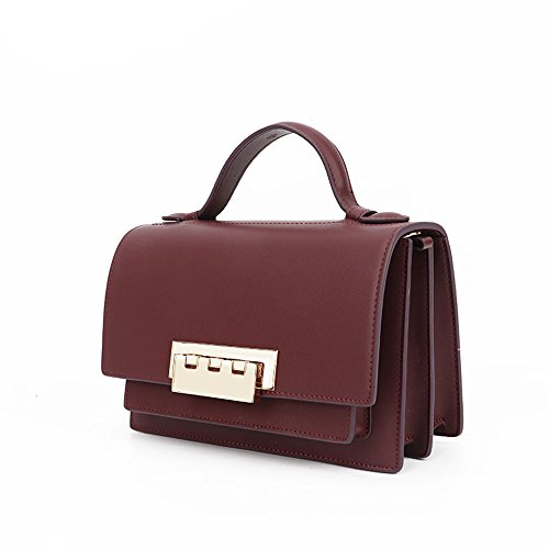 Small Retro Bag Messenger Leather Yiwuhu Bag Red Shoulder Practical Lock Simple Square Wine w5xtp1