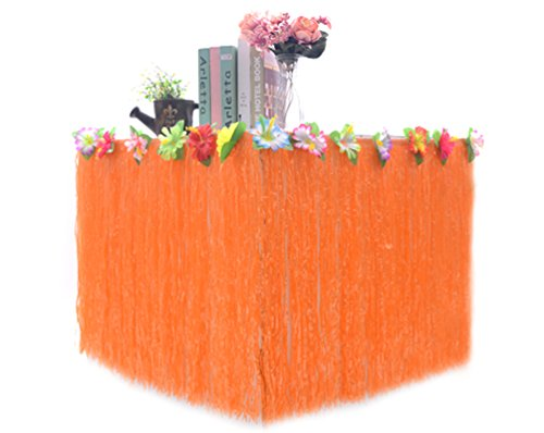 Hawaiian Colorful Artificial Big Flowers Hula Grass Table Skirt For Party Decoration  Orange  9Ft