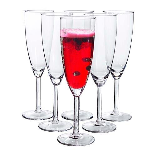 Ikea Svalka Champagne flute Glass, Set of 6 (Champagne Set Glasses)