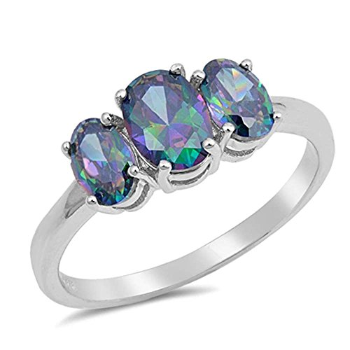 Sterling Silver 3 Stone Oval Shape Rainbow CZ Ring Size 5