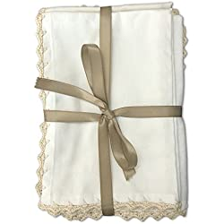 MoLi 100% Egyptian Cotton Cloth Dinner Napkins Hand Crocheted - Set of 6 Pack Lunch Linen - Elegant Decorative Fabric Handmade Table Linens - Servilletas de Tela Wedding Napkin (White)
