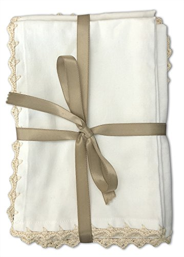 MoLi 100% Egyptian Cotton Cloth Dinner Napkins Hand Crocheted - Set of 6 Pack Lunch Linen - Elegant Decorative Fabric Handmade Table Linens - Servilletas de Tela Wedding Napkin (White) by MoLi