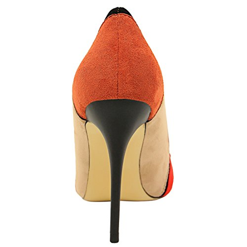 MiyooparkUK Miyoopark DS1368 36 2 Sandales Orange 5 Femme Compensées Rouge Orange qqxTZrw