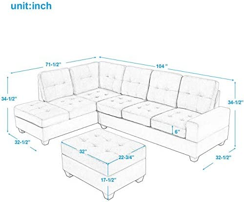 Restar Gray Sectional Sofa,Adjustable Couch L-Shaped Chaise Living Room Furniture Sofa Set