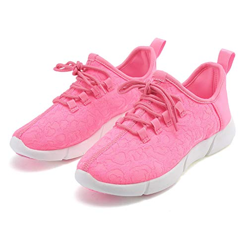 ℱLOVESOOℱ Couple Lace-Up Sneakers with Led Light Unisex Colorful Flash Casual Shoes Quick-Drying Breathable Runing Shoes Pink by ℱLOVESOOℱ (Image #5)
