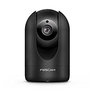 Foscam Home Security Camera, R2 Full HD 1080P WiFi IP Camera with Real-time 1080P Video at 25FPS, Pan Tilt 8x Digital Zoom, Optional Cloud Service Available, Rubber Black