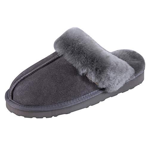 SLPR Women's Sheepskin Fernie Slipper (6, Grey)