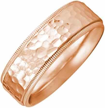 18K Rose Gold Milgrain Pattern Men's Hammered Finish Comfort Fit Wedding Band (7mm)