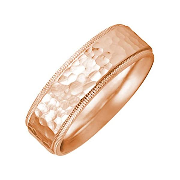 18K-Rose-Gold-Milgrain-Pattern-Mens-Hammered-Finish-Comfort-Fit-Wedding-Band-7mm