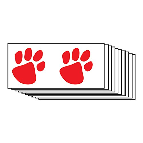 Red Paw Prints Temporary Tattoos (10-Pack) | Skin Safe | MADE IN THE USA| Removable]()