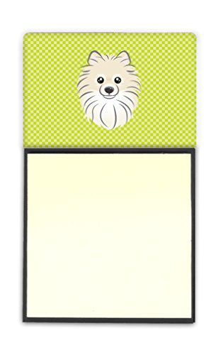 (Caroline's Treasures Checkerboard Lime Green Pomeranian Refillable Sticky Note Holder or Postit Note Dispenser, 3.25 by 5.5