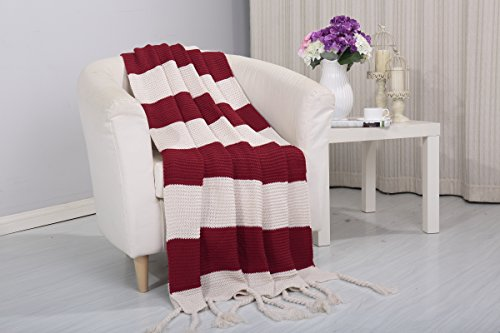 Superior Quality 100% Acrylic Couch Blanket – Ideal 50 x 60 Inch Size For King/Queen Bed – Variety Of Different Colors – Solid Or Striped Pattern (Vintage Red)