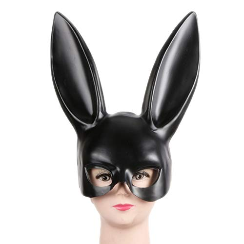 Women's Masquerade Rabbit Bunny Mask for Birthday Easter Halloween Eve Party Costume Masks(Matte Black)