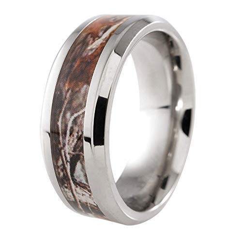 - NIV'S BLING - Titanium Camo Inlay 8mm Comfort Fit Wedding Band Ring Size 11.5