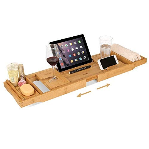 HOMFA Bamboo Bathtub Tray Bath Table Adjustable Caddy Tray with Extending Sides, Cellphone Tray and Wineglass Holder -
