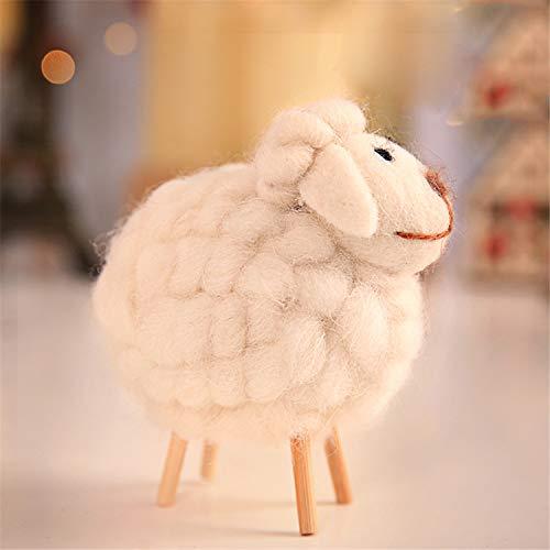 Foreverharbor Regalo de Navidad del paño de Madera Adornos de decoración del hogar ovejas Hada del jardín Miniaturas...