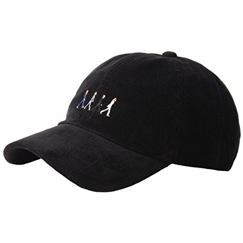 RaOn B187 Beatles Abbey Road Homage Character Corduroy Ball Cap Baseball Hat Truckers (Black)
