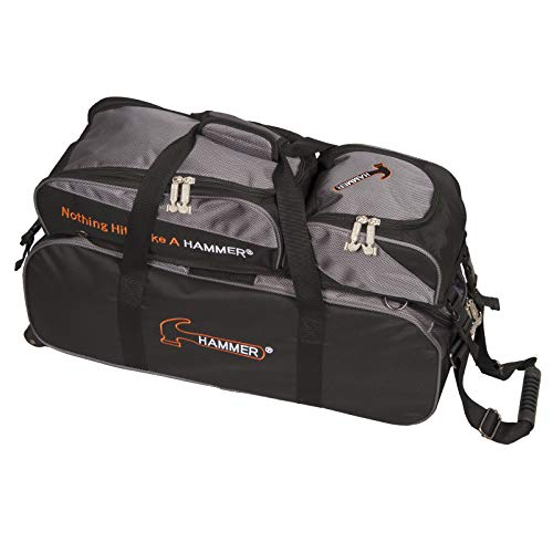Hammer Premium Deluxe Triple Tote with Removable Pouch Bowling Bag, Black/Carbon (Hammer Ball Bowling Bag)