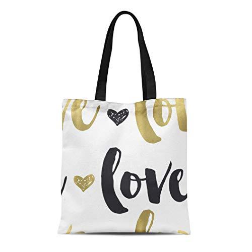 Ablitt Tote Bag Shoulder Bags Canvas Glam Gold Black Love Heart Chic Grocery bag Women's Handle Shoulder Tote Shopper Handbag