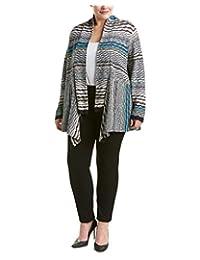 NIC & ZOE Womens Plus Striped Asymmetric Cardigan Sweater Multi 2X