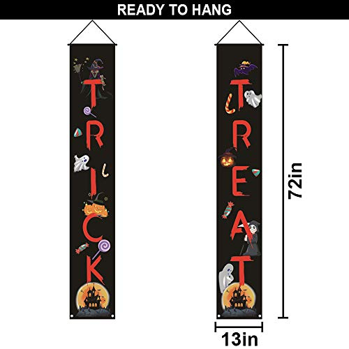 Halloween Porch Sign Decorations-Trick or Treat Halloween Banner,Outdoor Indoor Hanging Sign for Halloween Party Supplies Garden Home Party Decorations (RED)