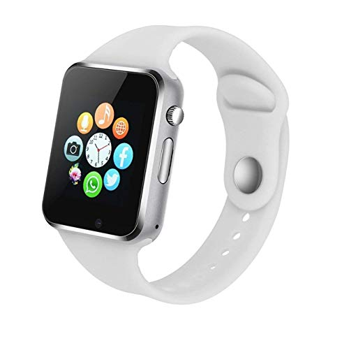 Bluetooth Wrist Watch - Bluetooth Smart Watch Fitness Tracker, Touch Screen Smart Wrist Smartwatch Support SIM SD Card Slot Make/Answer Phone Camera Pedometer Compatible Android iOS Samsung LG for Women Men Kids (White)